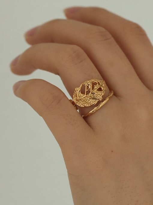 Five Color Brass Hollow Tree Hip Hop Band Ring 1