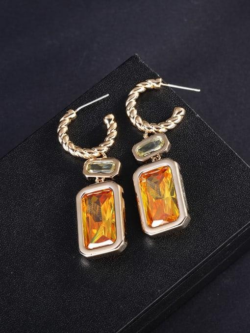 yellow Brass Cubic Zirconia Geometric Luxury Hook Earring