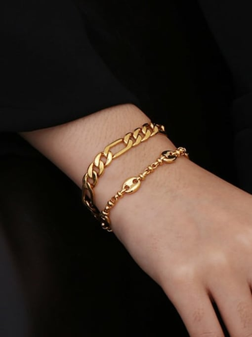 ACCA Brass Geometric chain Vintage Link Bracelet 1