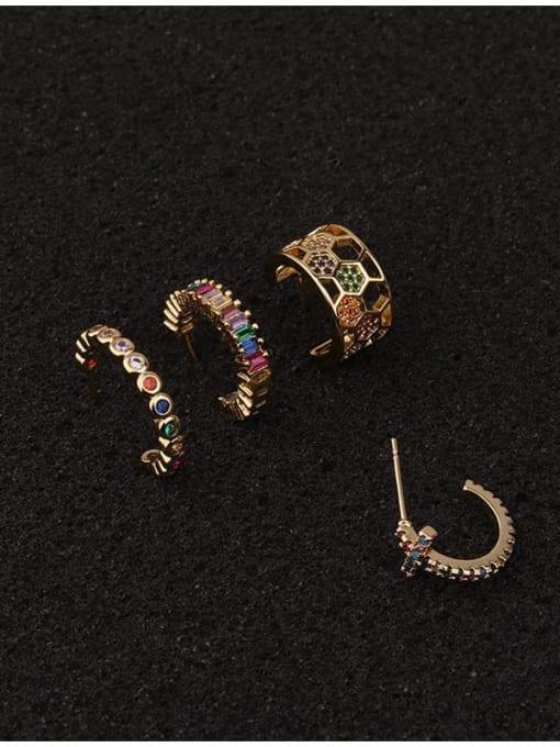 HISON Brass Cubic Zirconia Star Hip Hop Huggie Earring 4
