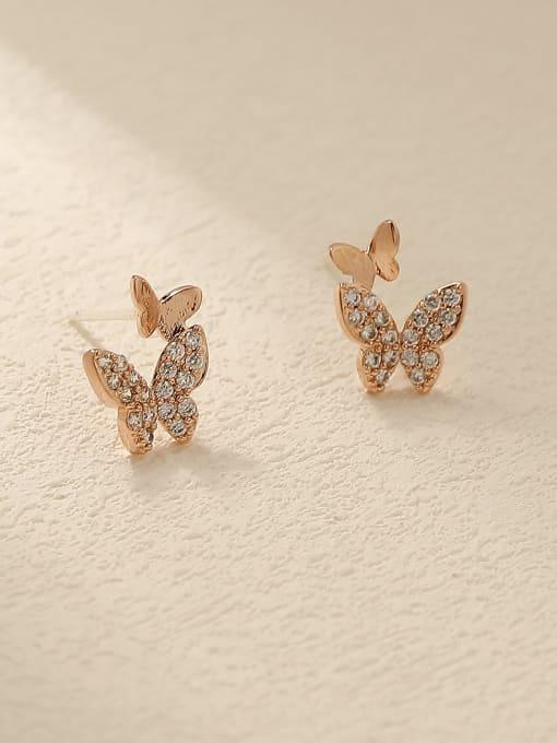 HYACINTH Brass Cubic Zirconia Butterfly Cute Stud Trend Korean Fashion Earring 2