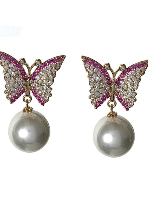 Pink Brass Cubic Zirconia Butterfly Cute Stud Earring