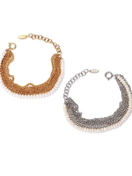 ACCA Brass Imitation Pearl Geometric Vintage Strand Bracelet 0