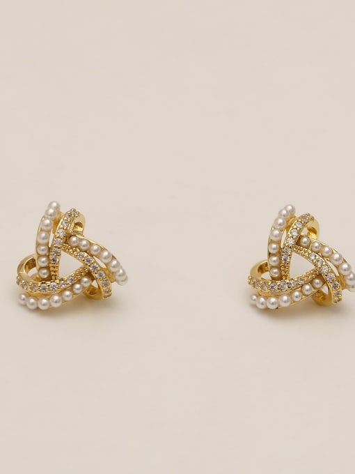 HYACINTH Brass Imitation Pearl Triangle Ethnic Stud Earring 1