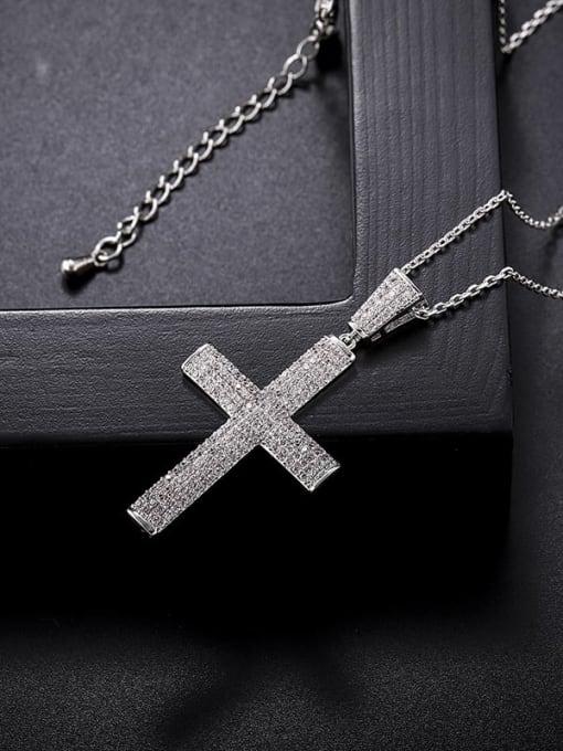 YILLIN Brass Cubic Zirconia Cross Minimalist Regligious Necklace 3