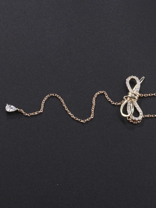 YILLIN Brass Cubic Zirconia Tassel Minimalist Lariat Necklace 0