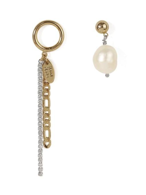 ACCA Brass Freshwater Pearl  Vintage  Fashion zircon chain asymmetric earrings Drop Earring 3