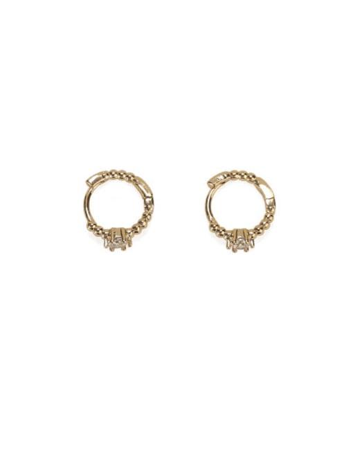 golden Brass Cubic Zirconia Geometric Vintage Stud Earring