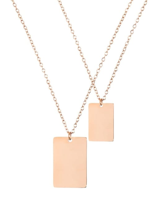 rose gold Stainless steel  Minimalist Geometric Pendant Multi Strand Necklace