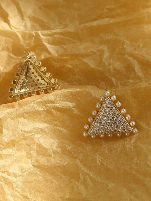 HYACINTH Brass Cubic Zirconia Triangle Vintage Stud Earring 4