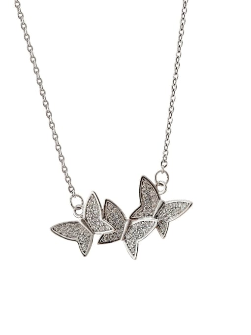 HYACINTH Brass Cubic Zirconia Butterfly Minimalist Necklace 0