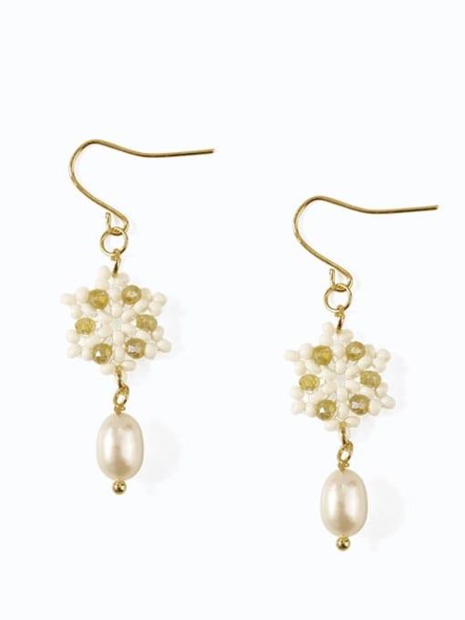 Five Color Alloy Imitation Pearl  Flower Cute Hook Earring 0