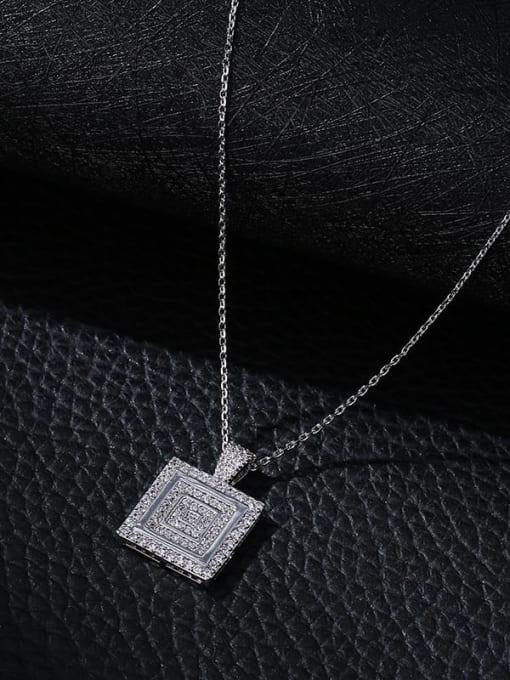 YILLIN Brass Cubic Zirconia Geometric Minimalist Necklace 2