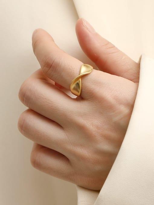 Dumb gold Brass Irregular Minimalist Band Ring