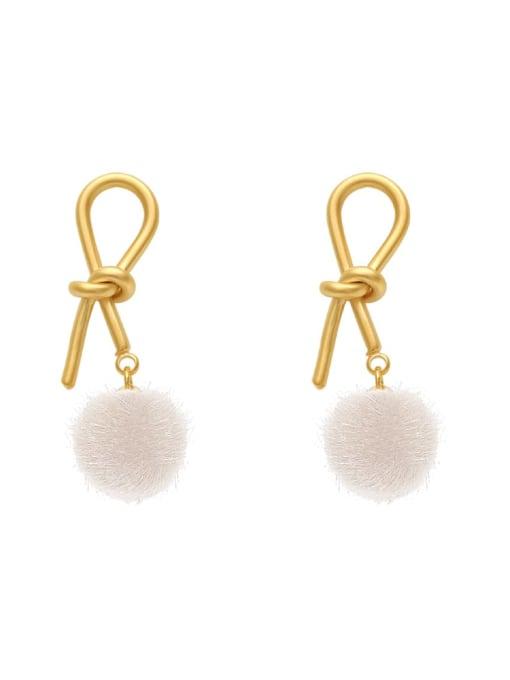 HYACINTH Brass Plush Ball Ethnic knot Drop Earring
