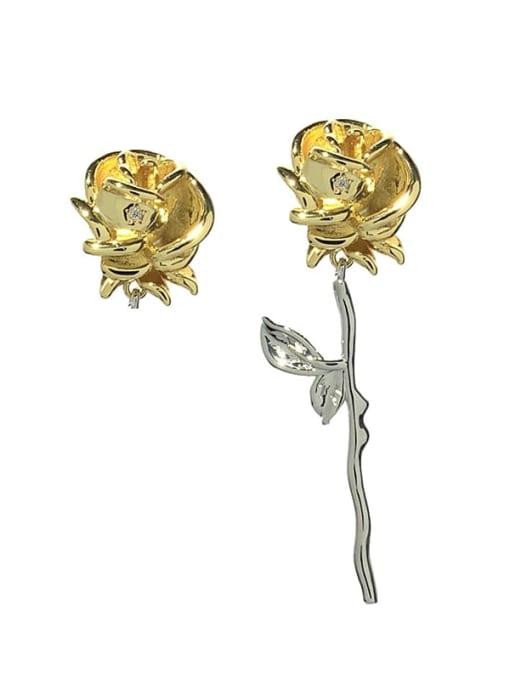 SUUTO Alloy Asymmetry Flower Vintage Stud Earring 2