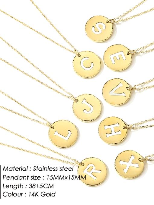 Desoto Titanium Steel Letter Minimalist Round Pendant Necklace 1