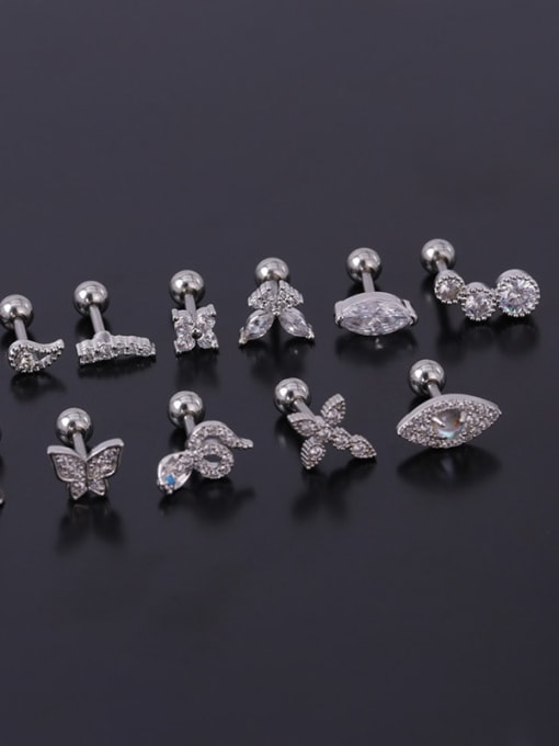 HISON Stainless steel with Cubic Zirconia Ear Bone Nail/Puncture Earring 2