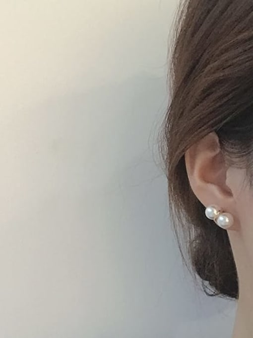 Five Color Alloy Imitation Pearl Geometric Cute Stud Earring 3