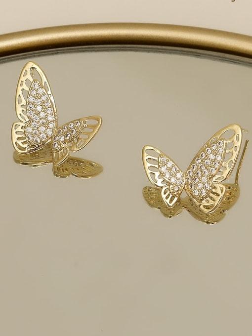 HYACINTH Copper Rhinestone Hollow Butterfly Minimalist Stud Earring 1