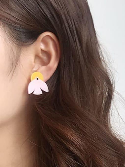 Five Color Alloy Acrylic Leaf Cute Stud Earring 1