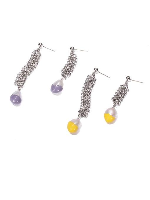 ACCA Brass Imitation Pearl Geometric Vintage Drop Earring