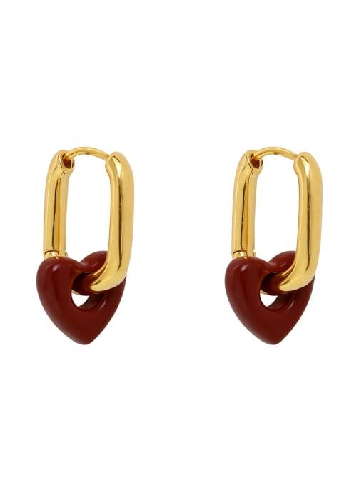 HYACINTH Brass Enamel Heart Minimalist Huggie Earring 0