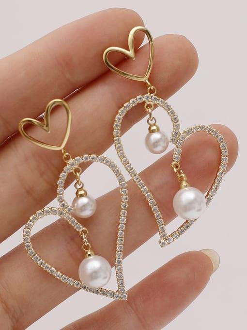 HYACINTH Brass Cubic Zirconia Heart Vintage Stud Earring 2