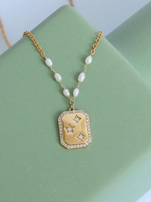 Five Color Brass Imitation Pearl Star Vintage Necklace 0