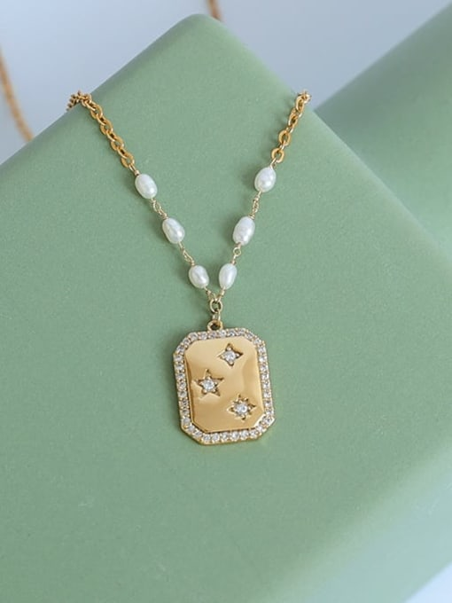Five Color Brass Imitation Pearl Star Vintage Necklace