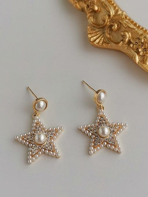 HYACINTH Brass Cubic Zirconia Star Vintage Stud Earring 3