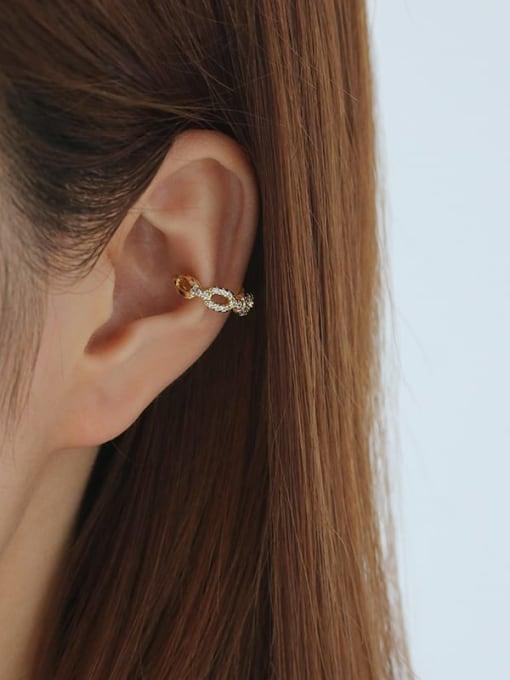 Five Color Brass Cubic Zirconia Geometric Hip Hop Single Earring 1