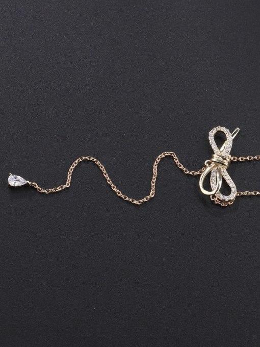 Champagne gold Brass Cubic Zirconia Tassel Minimalist Lariat Necklace