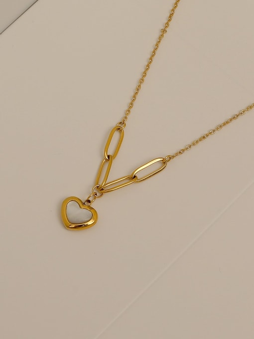 HYACINTH Brass Shell Heart Minimalist  Pendant Necklace 2