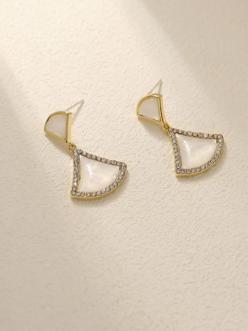 HYACINTH Brass Shell Geometric Vintage Drop Earring 2