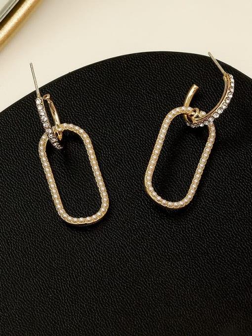 HYACINTH Copper Imitation Pearl Geometric Vintage Drop Earring 3