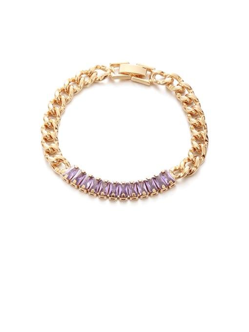 Light purple Zircon Bracelet Brass Cubic Zirconia Geometric Vintage Link Bracelet