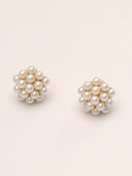 14k Gold Brass Imitation Pearl Round Vintage Stud Earring