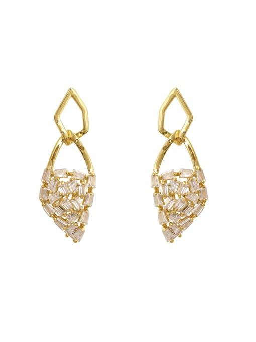 HYACINTH Brass Cubic Zirconia Geometric Dainty Drop Earring