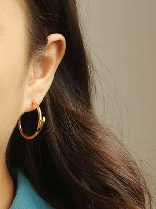 ACCA Brass Cubic Zirconia Geometric Hip Hop Stud Earring 1