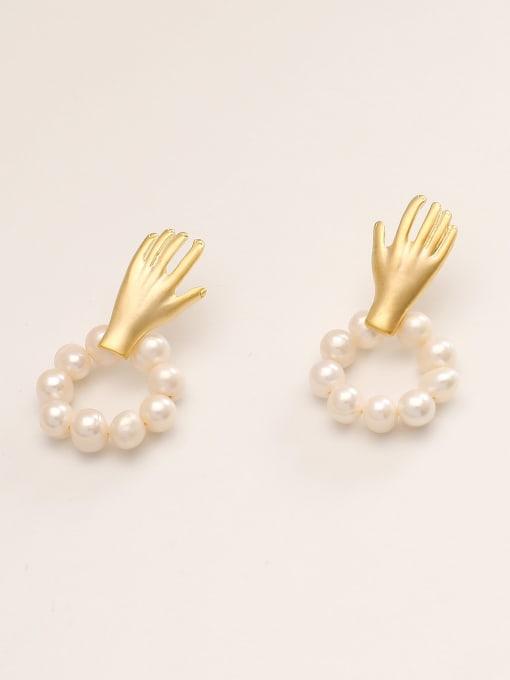 HYACINTH Brass Imitation Pearl Irregular Minimalist Stud Earring 2