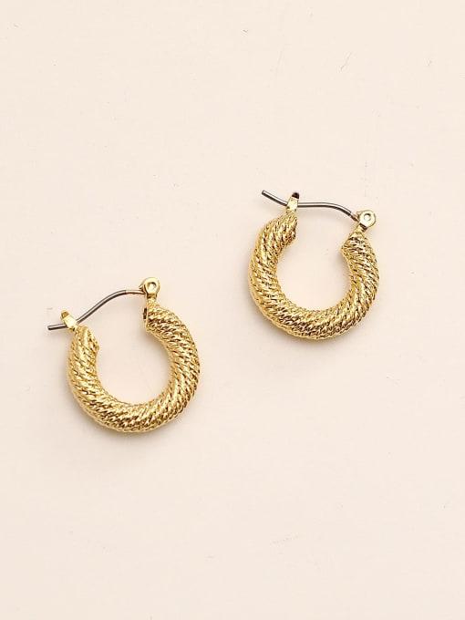 14k gold Brass Geometric Vintage Huggie Earring