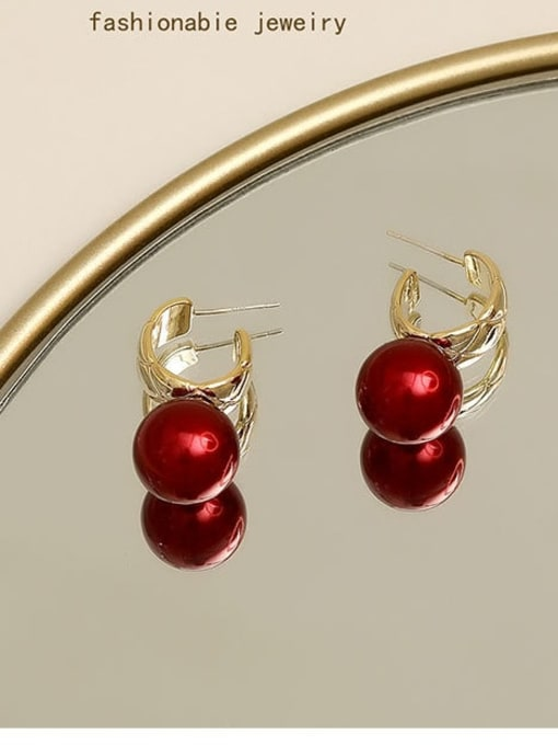 Golden red Brass Imitation Pearl Geometric Vintage Drop Earring