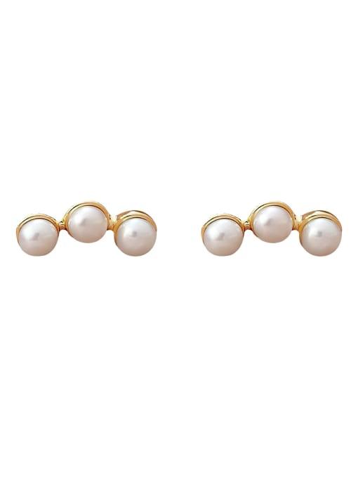 HYACINTH Brass Imitation Pearl Geometric Minimalist Stud Earring