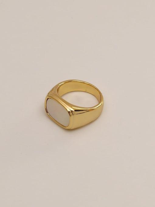 HYACINTH Brass Shell Geometric Vintage Band Ring 1