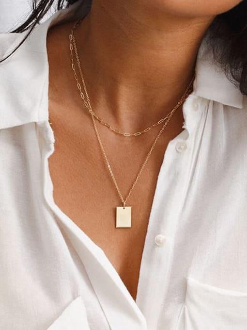 Desoto Stainless steel Minimalist  Geometric Pendant Multi Strand Necklace 4