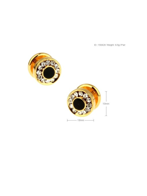 ThreeLink Brass Rhinestone Geometric Vintage Cuff Link 1