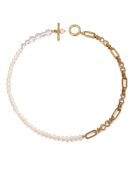 ACCA Brass Freshwater Pearl Asymmetry Geometric CHAIN Hip Hop Necklace