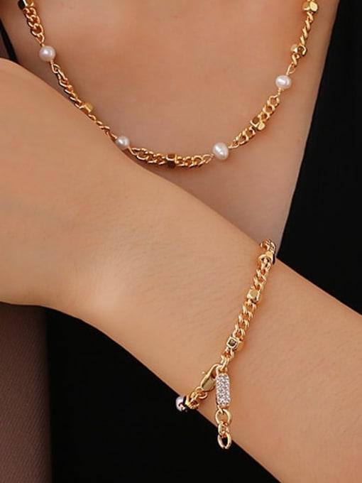 ACCA Brass Imitation Pearl Geometric Hip Hop Necklace 2