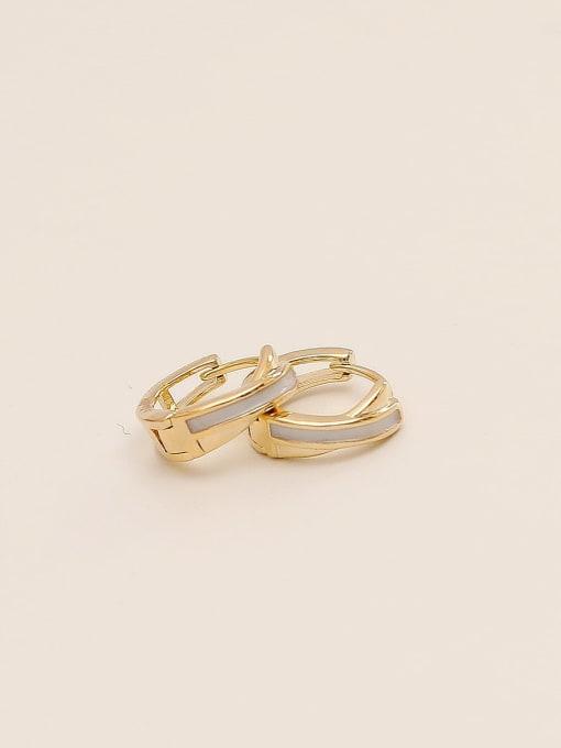 HYACINTH Brass Cubic Zirconia Geometric Minimalist Huggie Earring 2